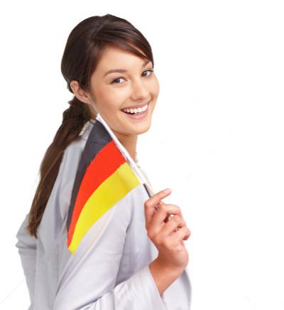 muchacha con bandera alemana